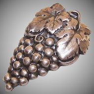 ART DECO Silverplate Dress Clip or Fur Clip - A Bunch of Grapes