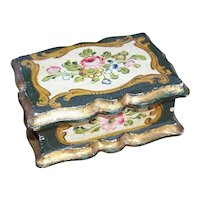 VIntage Made in Italy Italian Tole Wooden Box with Florals | Handpainted Flowers | Hollywood Regency Decoration