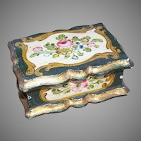 VIntage Italian Tole Wooden Box with Florals
