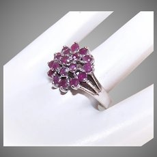 Vintage Sterling Silver Ruby Cluster Ring | Sterling Silver Ruby Cocktail Ring