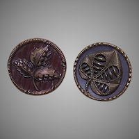 Set/2 EDWARDIAN Metal Buttons - Leaves!