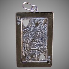 Vintage Sterling Silver Card Charm - Queen of Hearts Pendant
