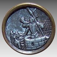 Antique Edwardian Metal Button - Watch Tower Soldier Blowing Horn!