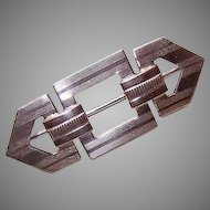 ART DECO 14K Gold & Sterling Silver Pin by Symmetalic aka W.E. Richards Company