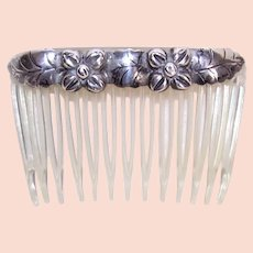 Vintage Sterling Silver Topped Hair Comb | Native American Design | Hair Fashion Accessory | Floral Design
