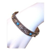 Italian Silverplate Turquoise Blue Glass Cab Hinged Bangle Bracelet