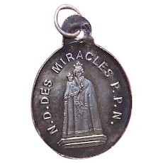 Antique FRENCH SILVER Religious Charm/Medal - Virgin & Child!