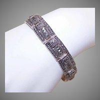 Vintage STERLING SILVER Bracelet - Marcasite, Link