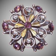 Interesting Vintage 1950s STERLING SILVER Vermeil & Rhinestone Brooch!
