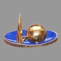 C.1939 New York World's Fair Cold Enamel Gold Metal Souvenir Pin