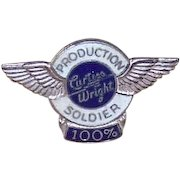 1940s Sterling Silver & Enamel Production Soldier Lapel Pin for Curtiss Wright!