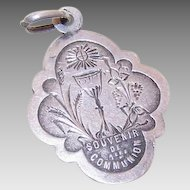Dated 1885 FRENCH 800/900 Silver Religious First Communion Medal/Pendant!