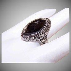Vintage STERLING SILVER, Black Onyx & Marcasite Fashion Ring!