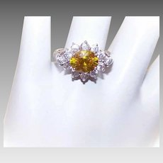 Vintage STERLING SILVER & 2.35CT TW Canary Yellow/White Rhinestone Fashion Ring!