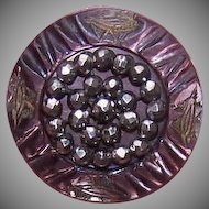 ANTIQUE VICTORIAN Mother of Pearl & Cut Steel Button!