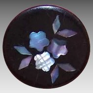 ANTIQUE VICTORIAN Paper Mache & Abalone Inlay Button!