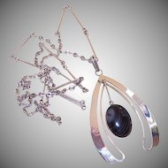 Modernistic STERLING SILVER & Black Lace Agate Pendant Necklace!