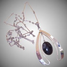 Modernistic STERLING SILVER & Black Lace Agate Pendant Necklace!