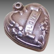 Vintage STERLING SILVER Puffy Heart Charm - I Love U!