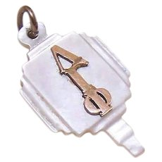 """Vintage MOTHER OF PEARL Key with Gold Filled """"Lambda Gamma Phi"""" Greek Letters!"""