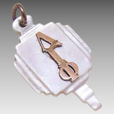 "Vintage MOTHER OF PEARL Key with Gold Filled ""Lambda Gamma Phi"" Greek Letters!"