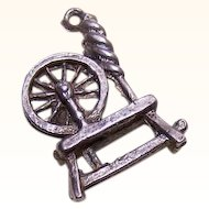 Vintage STERLING SILVER Charm - Spinning Wheel!