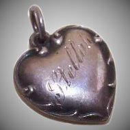 Vintage STERLING SILVER Puffy Heart Charm - Engraved Stellah!