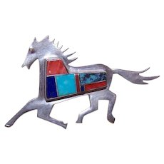 Zuni Sterling Silver Stone Inlay Horse Pin