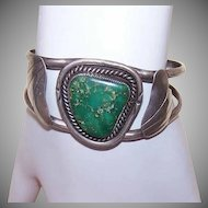Vintage NATIVE AMERICAN Sterling Silver & Turquoise Cuff Bracelet!