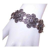 Vintage STERLING SILVER Bracelet - Filigree, Link, Floral