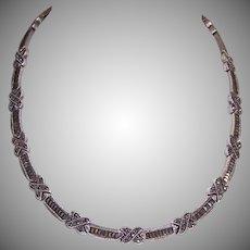 Vintage STERLING SILVER Necklace - Marcasite, Link, Art Deco Revival