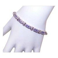 Vintage STERLING SILVER Bracelet - Tanzanite Color, Cubic Zirconia CZ, Link