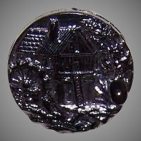 ANTIQUE EDWARDIAN Glass Button - Mill House with Water Wheel!