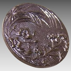 Vintage FRENCH Metal Button - Blossoms & Leaves!