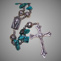 Vintage Silverplate & Faux Turquoise Bead Rosary!