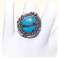 Vintage Native American/Southwestern STERLING SILVER & Turquoise Ring!