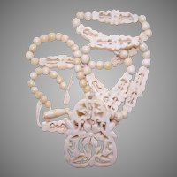Vintage FAR EASTERN Carved Bone Necklace - Needs TLC!