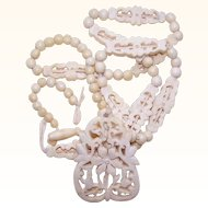 Vintage FAR EASTERN Carved Bone Necklace - Needs TLC!