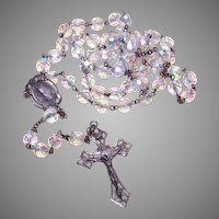 Vintage Sterling Silver Aurora Borealis Crystal Rosary