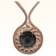 Stunning VINTAGE Gold Tone Mesh, Faux Pearl & Smoky Topaz Crystal Pendant Necklace!