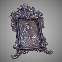 Vintage FRENCH Darkened Metal Religious Icon - Sacred Heart of Jesus!