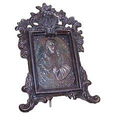 Vintage FRENCH Darkened Metal Religious Icon - Sacred Heart of Jesus!