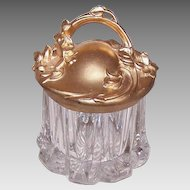 ART NOUVEAU Pressed Glass Powder Jar with Gilt Metal Handled Lid!
