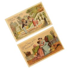Pair of ANTIQUE VICTORIAN Trade Cards for Curtis, Davis & Co, Boston, Mass.!