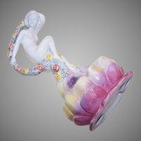 Art Deco German Porcelain Dancing Lady Flower Frog