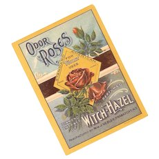 Vintage Paper Label - Odor Roses, Diamond Extract of Witch Hazel!