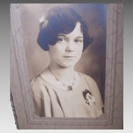Vintage B&W Photo of a Young Girl Wearing a 1930s Art Deco Necklace!