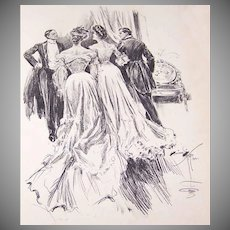 Dated 1903 B&W Book Illustration by Harrison Fisher - Lovely Ladies at a Dinner!