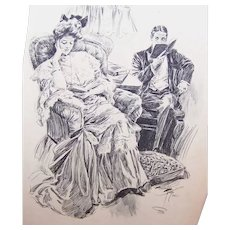 Dated 1903 B&W Book Illustration by Harrison Fisher - Married Couple at Home!