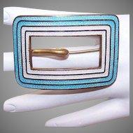 Antique Gilt Brass Enamel Buckle Pin